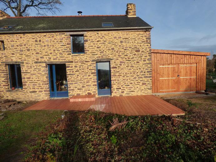 terrasse 25 m² et garage 20 m² en douglas naturel