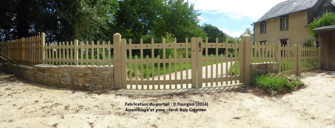 ensemble portail, portillons et clôture en chataignier 2